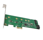 M.2 NGFF SSD and SATA 6G Port HDD PCI-e x1 Card with RAID