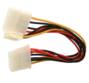 Molex 4-Pin to Molex 4-Pin and Floppy Disk Drive Power Cable